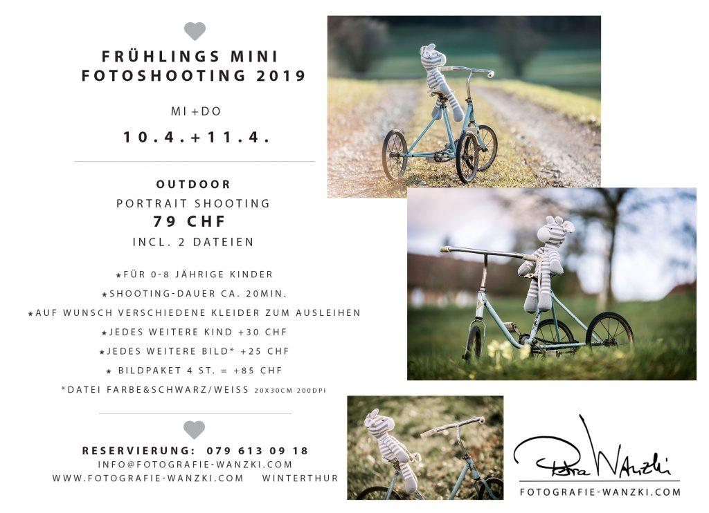 Aktion Kinderfoto in Winterthur, Frühlings MINI FotoShooting mit Dreirad auf einer Wiese im Frühling